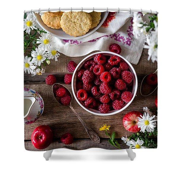 Raspberry Breakfast Shower Curtain