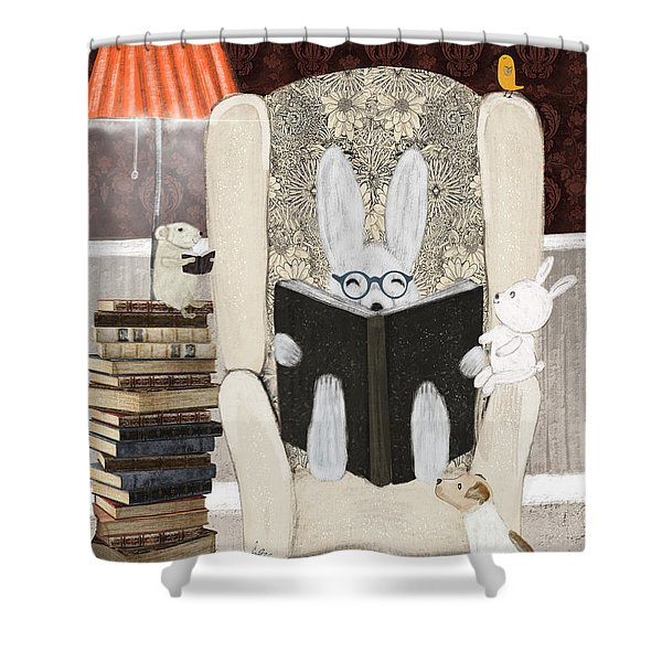 Reading Time Shower Curtain by Bri Buckley