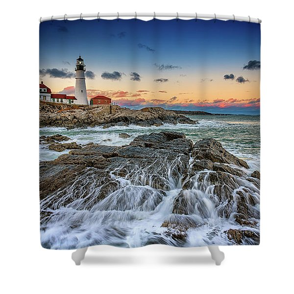 Receding Cascade At Portland Head Shower Curtain