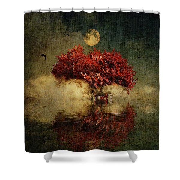 Shower Curtain featuring the digital art Red American Oak In A Dream by Jan Keteleer