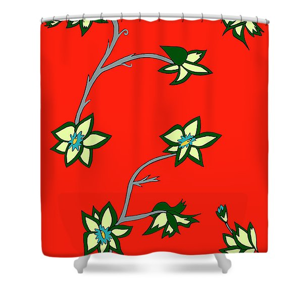 Red Background Flowers Shower Curtain