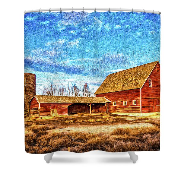 Red Barn And Brick Silo Shower Curtain