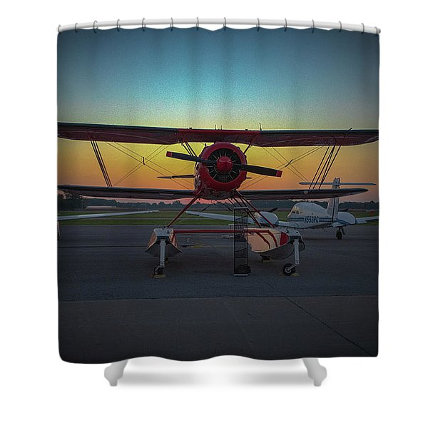 Red Biplane At Dawn Shower Curtain