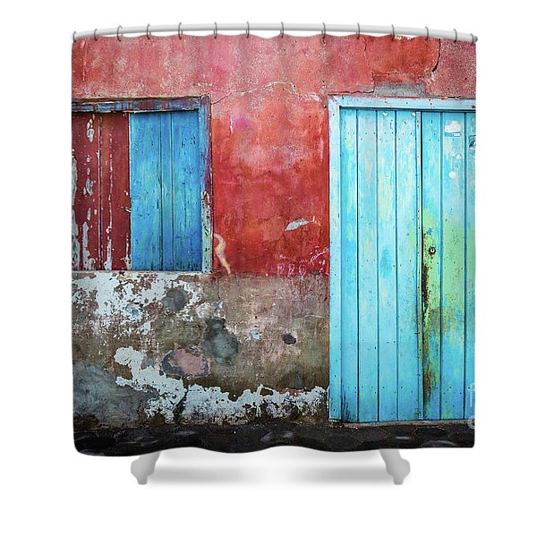Red, Blue And Grey Wall, Door And Window Shower Curtain
