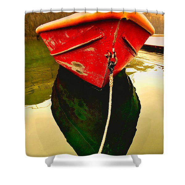 Shower Curtain featuring the photograph Red Boat by Tom Gresham