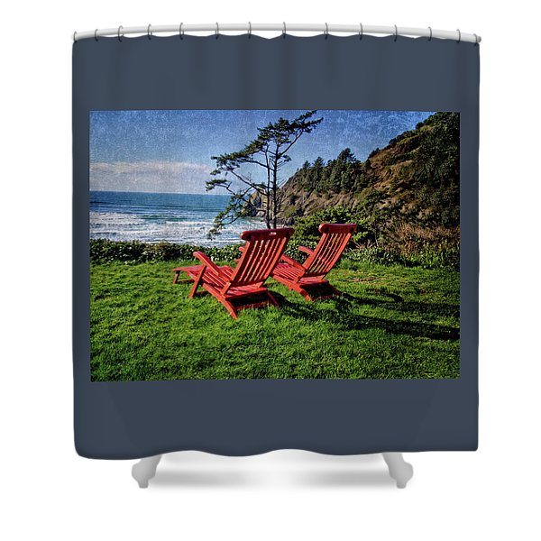 Red Chairs At Agate Beach Shower Curtain
