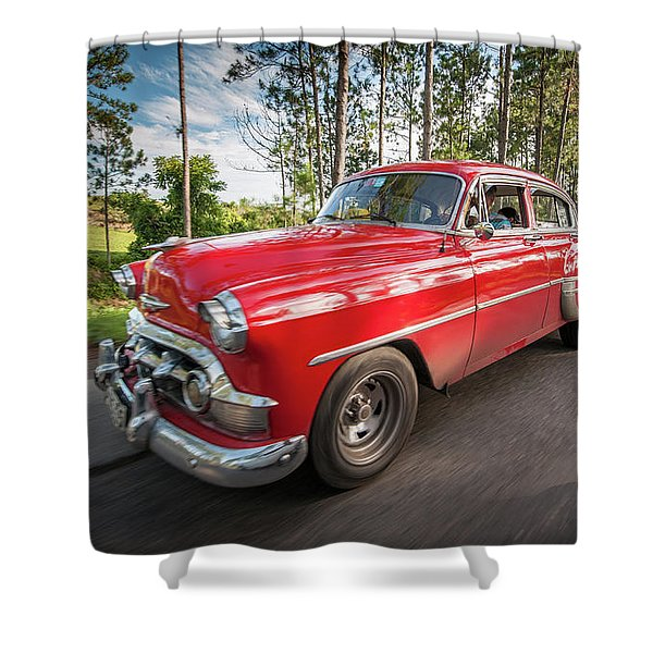 Red Classic Cuban Car Shower Curtain