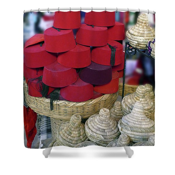 Red Fez Tarbouche And White Wicker Tagine Cookers Shower Curtain