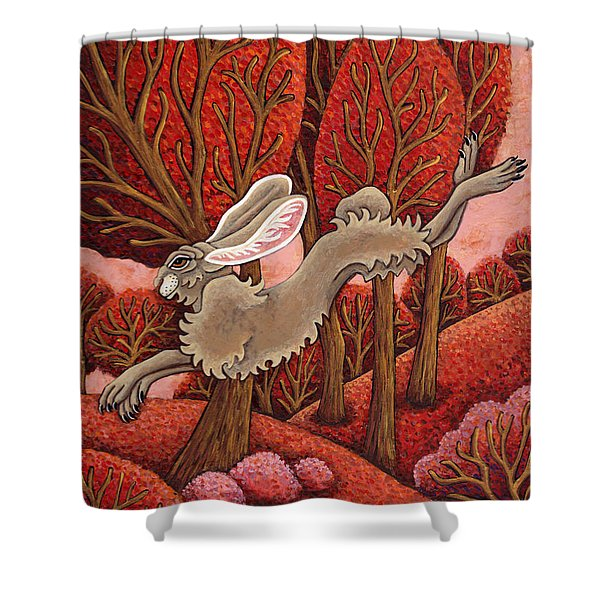 Red Forest Run Shower Curtain