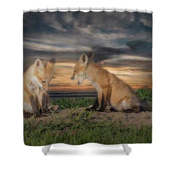 Red Fox Kits - Past Curfew Shower Curtain