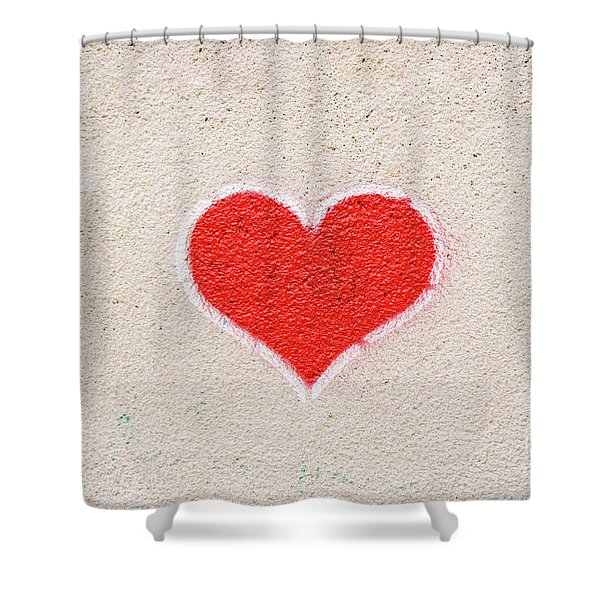 Red Heart Painted On A Wall, Message Of Love. Shower Curtain