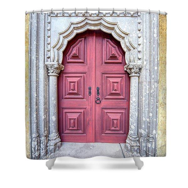 Red Medieval Door Shower Curtain