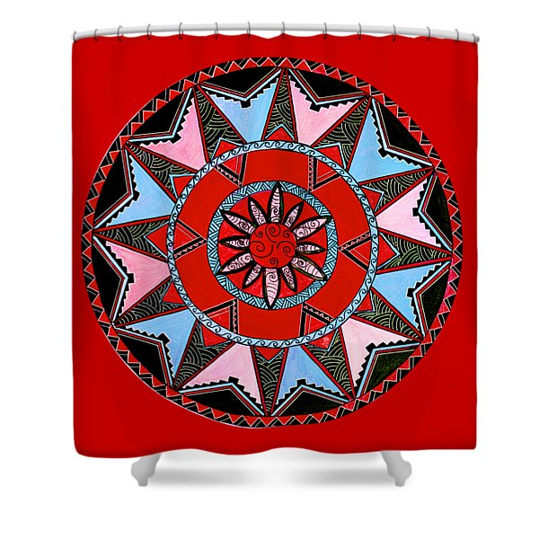 dc61436d8 Red Black Native Maori Mandala Shower Curtain