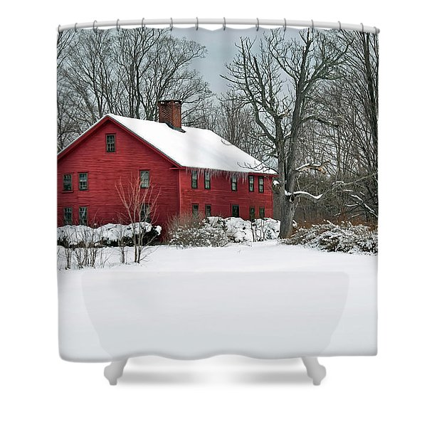 Red New England Colonial In Winter Shower Curtain