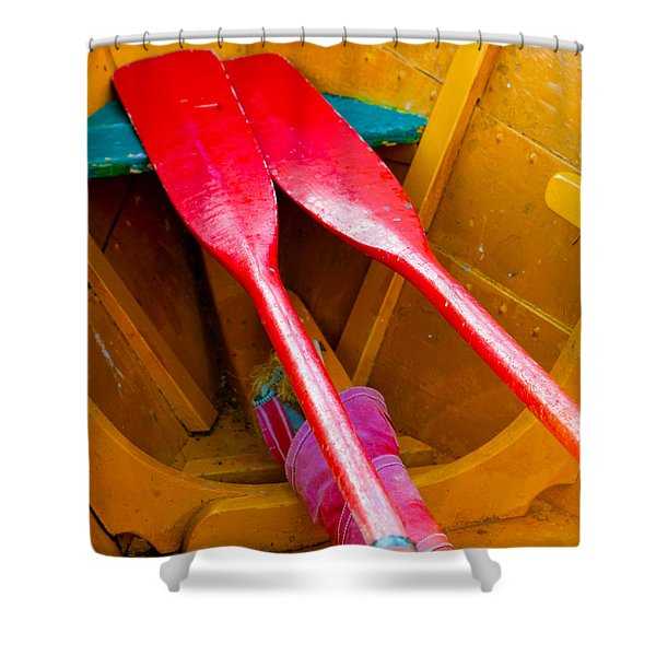 Red Oars Shower Curtain