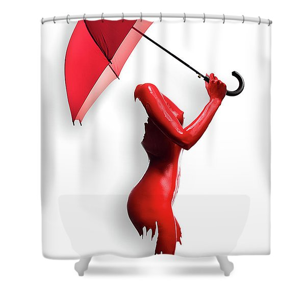 Red Painted Body With Umbrella Shower Curtain
