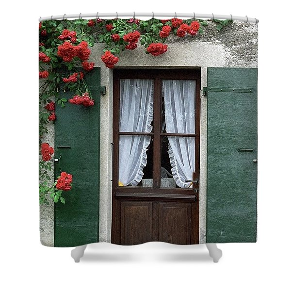 Red Rose Door Shower Curtain