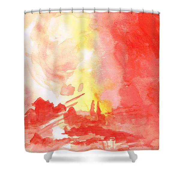 Red Village Abstract 1 Shower Curtain