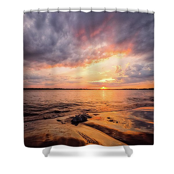 Shower Curtain featuring the photograph Reflect The Drama, Sunset At Fort Foster Park by Jeff Sinon