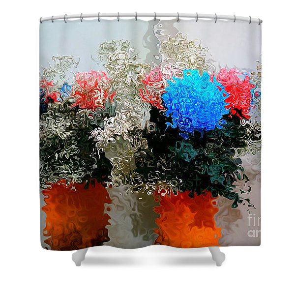Reflection Of Flowers In The Mirror In Van Gogh Style Shower Curtain