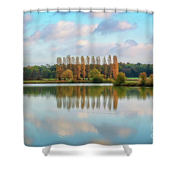 Reflections Of Clouds In A Pond Shower Curtain