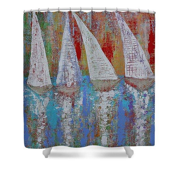 Regatta Original Painting Shower Curtain