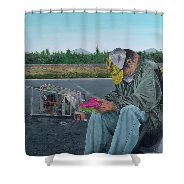 Shower Curtain featuring the painting Regret by Kevin Daly