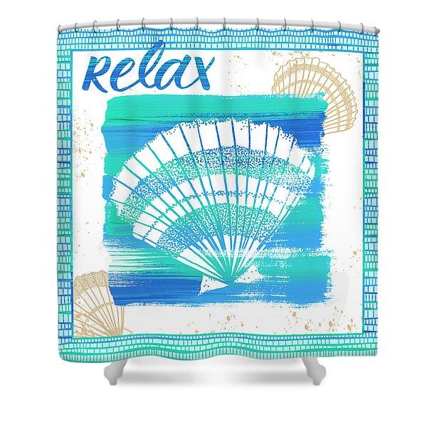 Relax Seashell Coastal Art Shower Curtain
