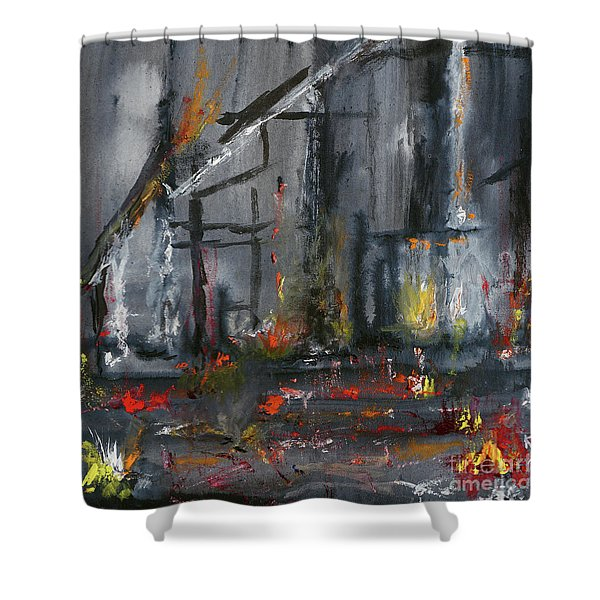 Shower Curtain featuring the painting Remains by Karen Fleschler