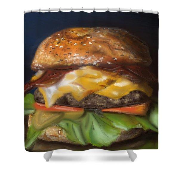 Shower Curtain featuring the pastel Renaissance Burger  by Fe Jones