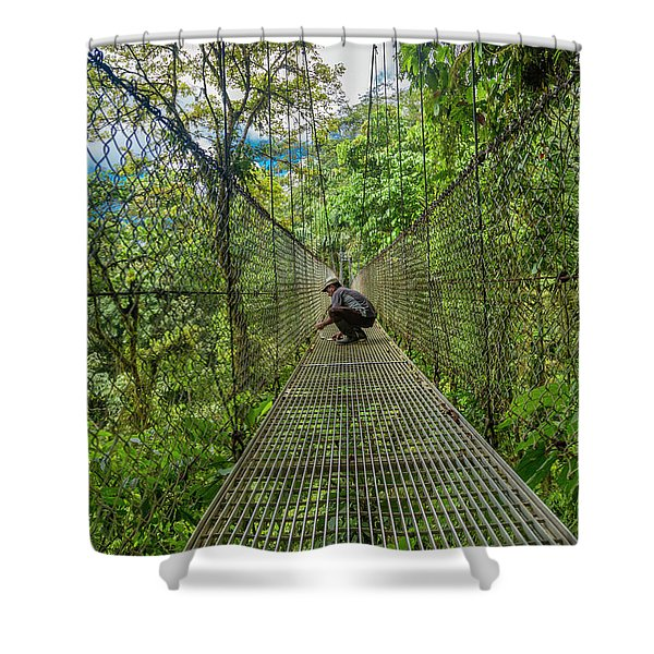 Repairing The Bridge Manuel Antonio Jungle Shower Curtain