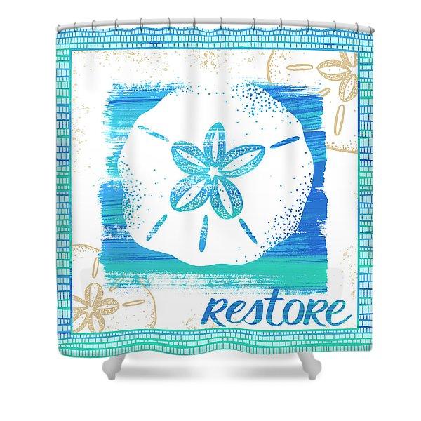 Restore Sand Dollar Coastal Art Shower Curtain