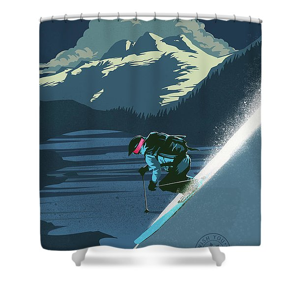 Shower Curtain featuring the painting Retro Revelstoke Ski Poster by Sassan Filsoof