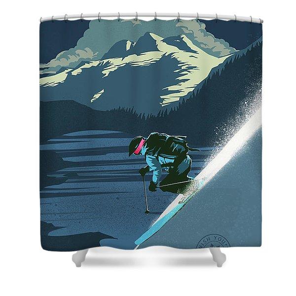 Retro Revelstoke Ski Poster Shower Curtain