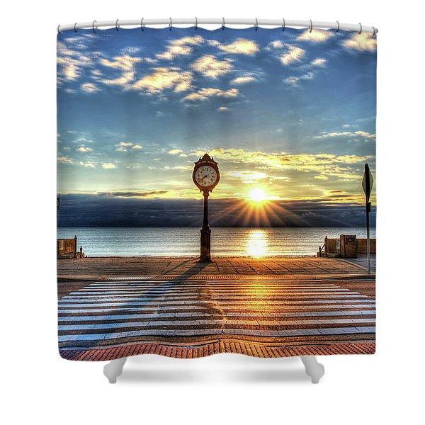 Revere Beach Clock At Sunrise Angled Long Shadow Revere Ma Shower Curtain