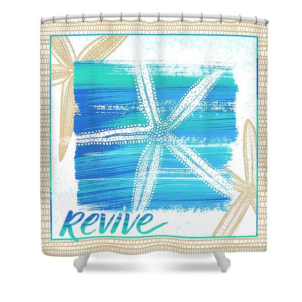 Revive Starfish Coastal Art Shower Curtain
