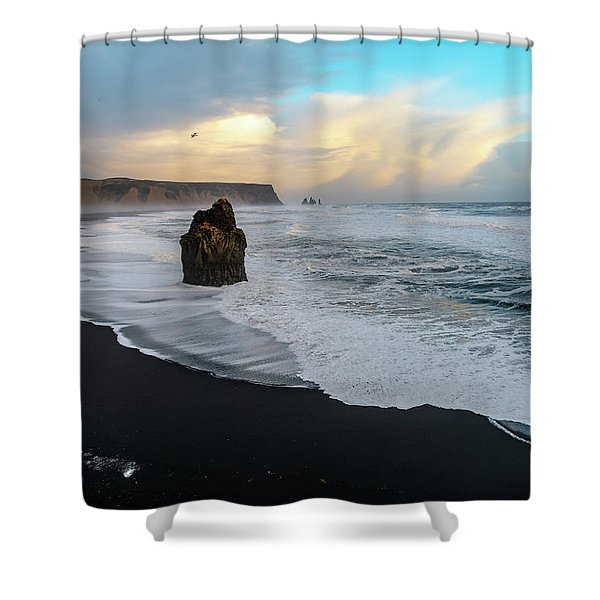 Reynisfjara Beach At Sunset Shower Curtain