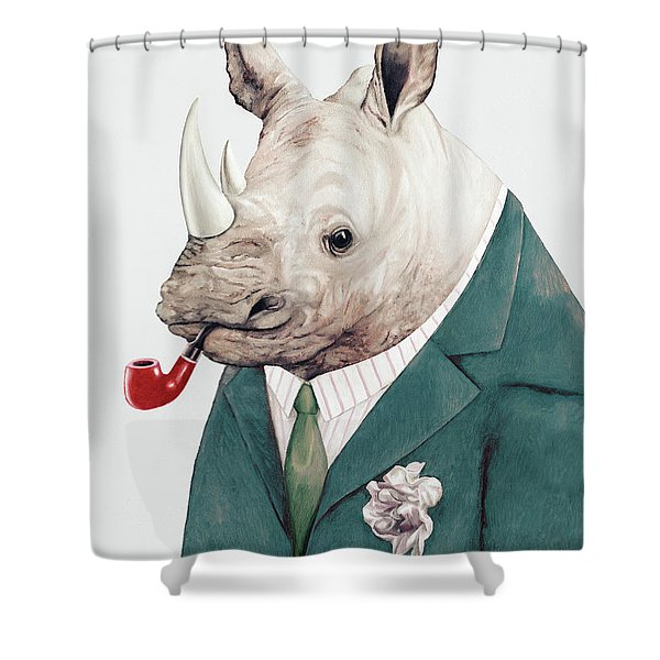 Rhino In Teal Shower Curtain