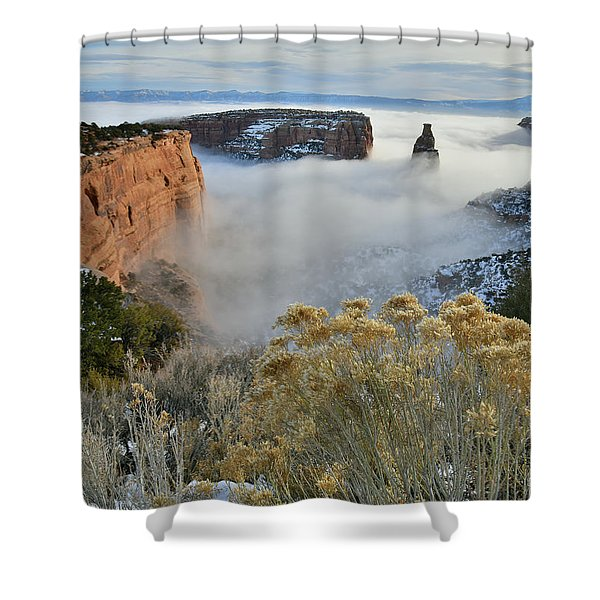 Rim Rock Drive View Of Fogged Independence Canyon Shower Curtain