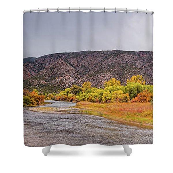 Rio Grande Del Norte As It Makes Its Way Through Orilla Verde - Pilar New Mexico Shower Curtain