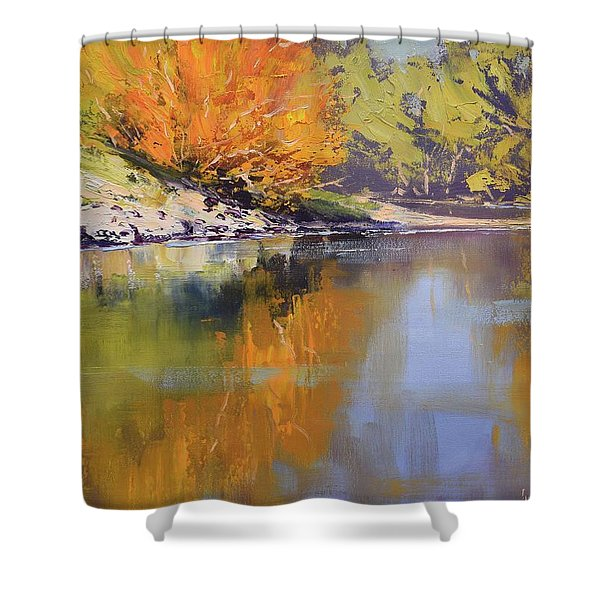 River Bank Reflections Shower Curtain