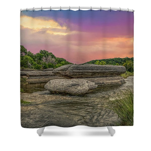 River Erosion At Sunset Shower Curtain