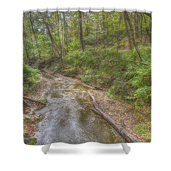 River Flowing Through Pine Quarry Park Shower Curtain