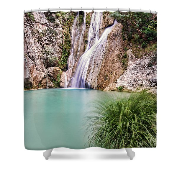 Shower Curtain featuring the photograph River Neda Waterfalls by Milan Ljubisavljevic