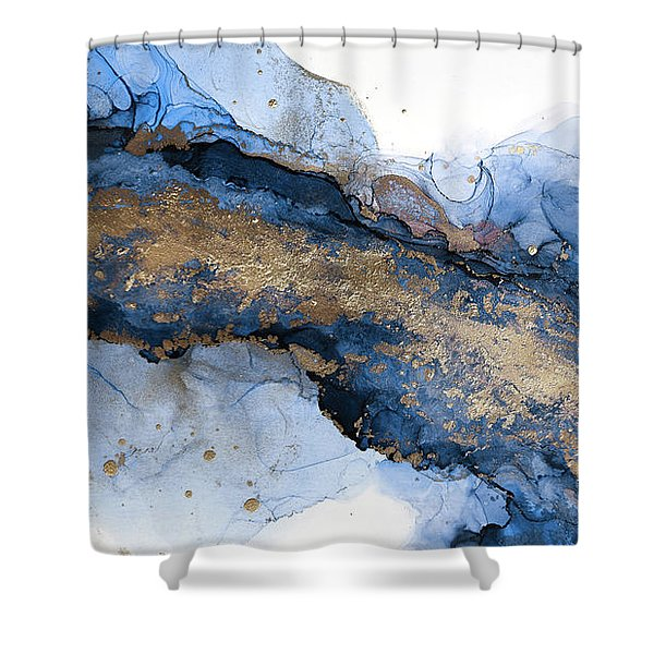 River Of Blue And Gold Abstract Painting Shower Curtain