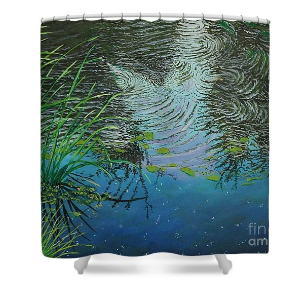 River ...ripples And Reeds Shower Curtain