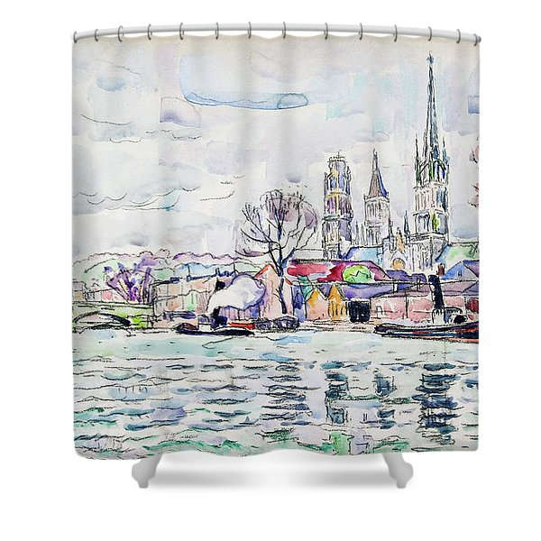 River Scene, Rouen - Digital Remastered Edition Shower Curtain