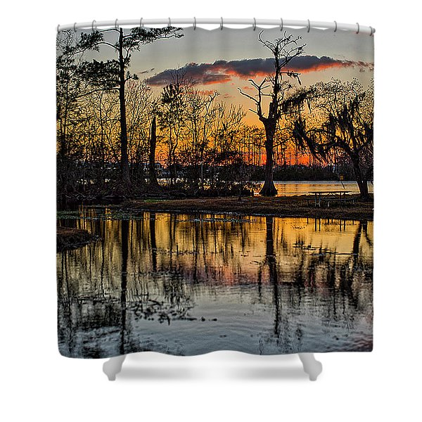Shower Curtain featuring the photograph Riverside Sunset by Tom Gresham