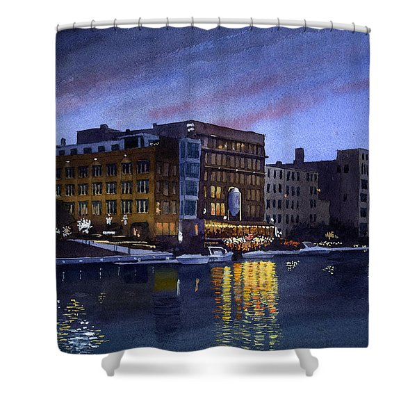 Riverwalk Nocturne Shower Curtain