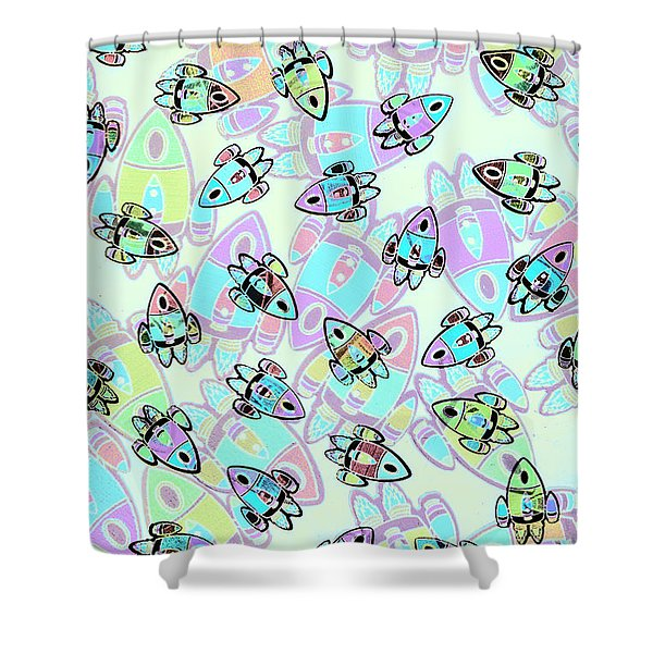 Rocketeering Repetition Shower Curtain